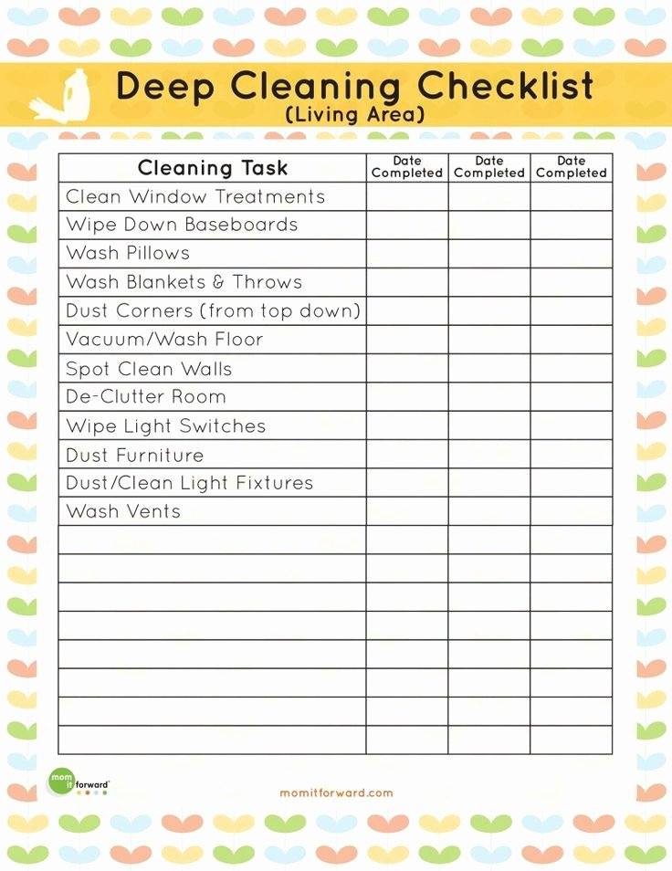 Deep Cleaning Checklist Template Lovely Printable Living area Deep Cleaning Checklist Mom It
