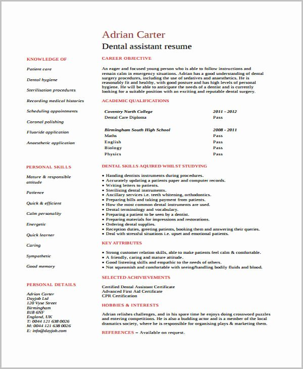 Dental Curriculum Vitae Template Awesome 11 Student Curriculum Vitae Templates Pdf Doc