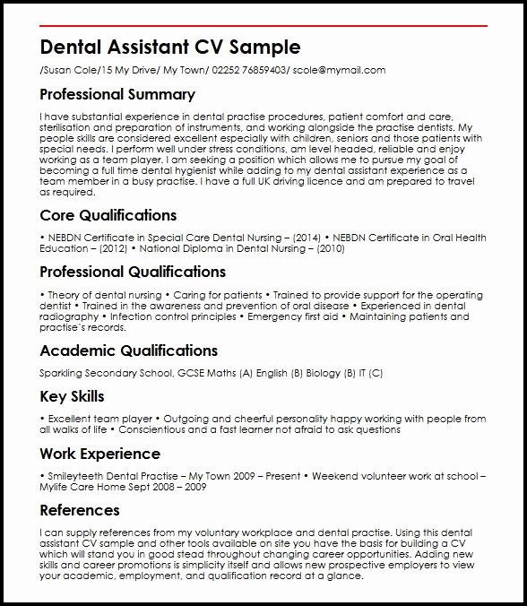 Dental Curriculum Vitae Template Awesome Dental assistant