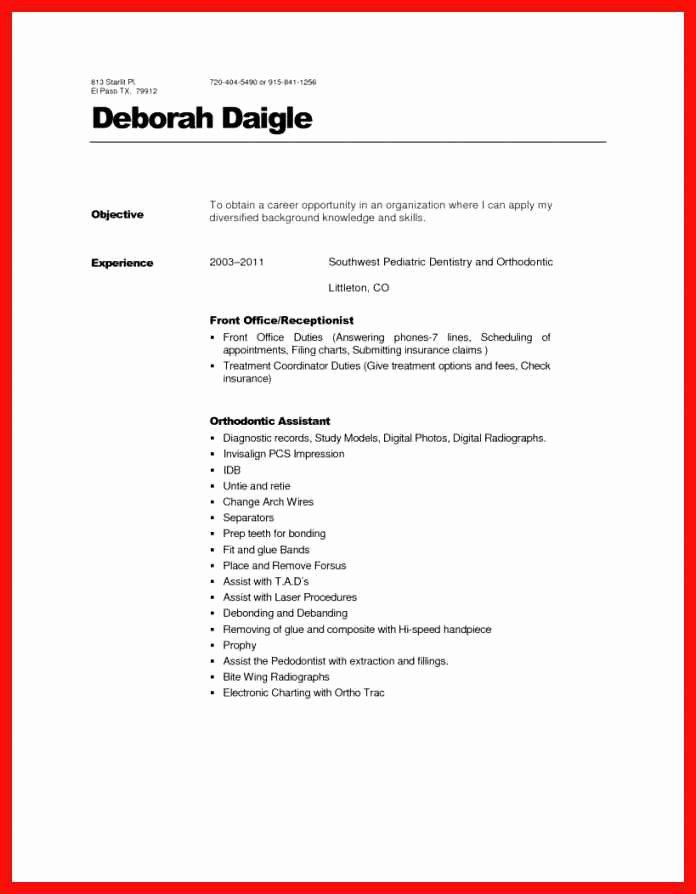 Dental Curriculum Vitae Template Inspirational Dental Front Desk Resume