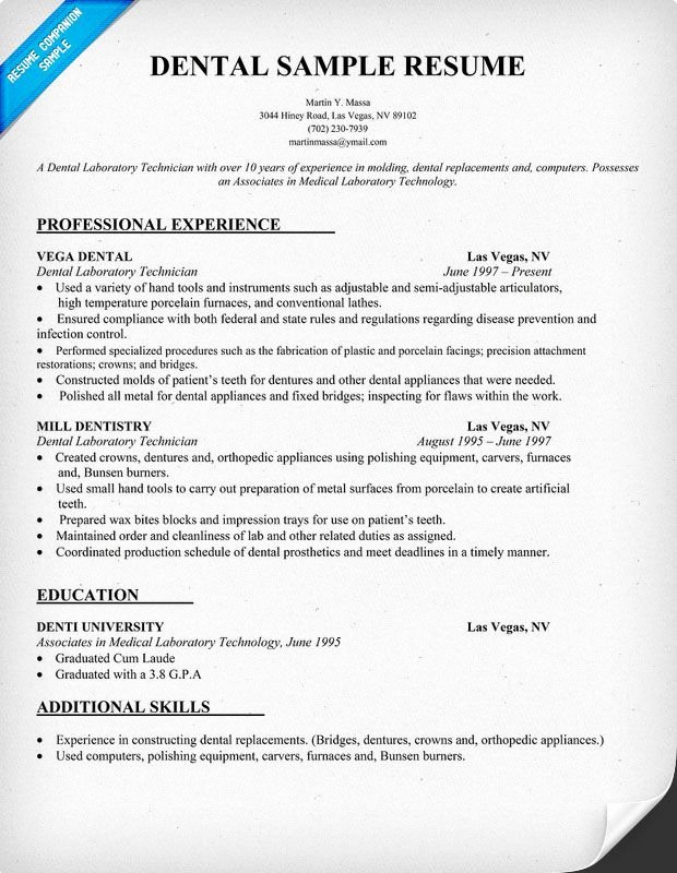 Dental Curriculum Vitae Template New Dental Resume Sample Resume Panion Dentist