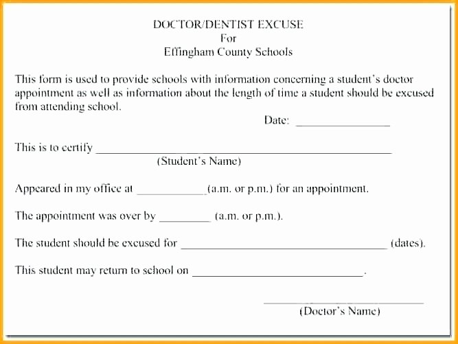 Dental Excuse Letter Template Inspirational Doctor Note for School Absence – Juegame