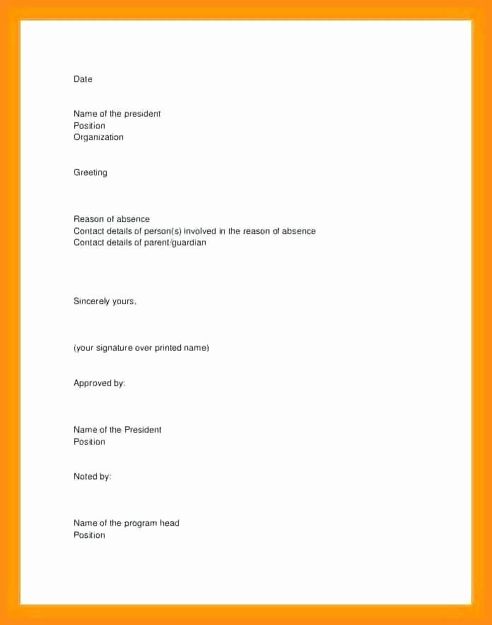 Dental Excuse Letter Template New 3 4 Excuse Letter for Absence In School