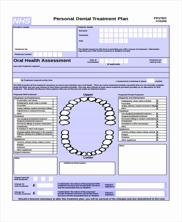 Dental Treatment Plan Template Awesome 29 Free Treatment Plan Templates