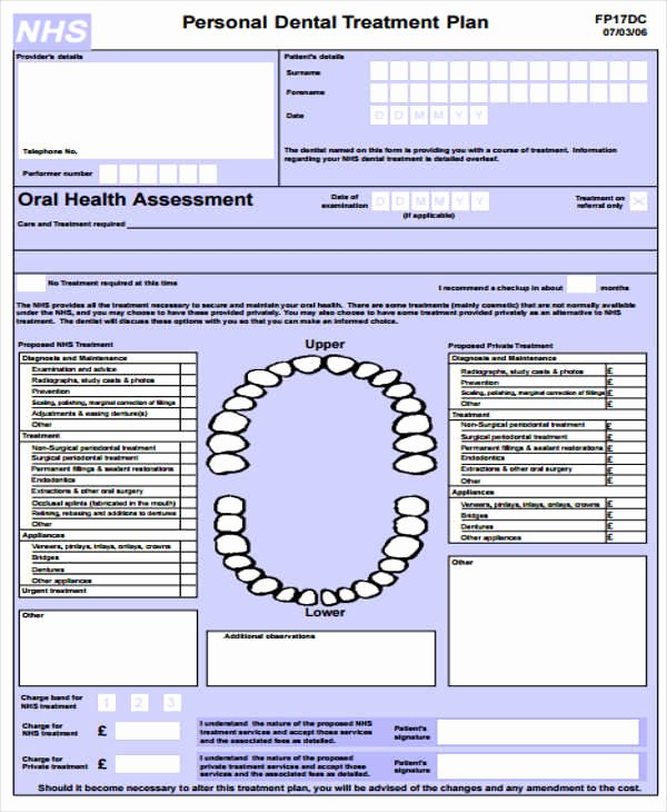 Dental Treatment Plan Template Best Of 8 Treatment Plan Samples & Templates