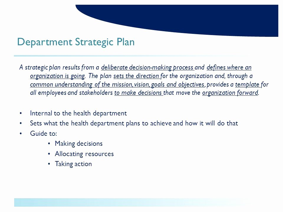 Department Strategic Plan Template Unique Health assessment Improvement Planning and Strategic