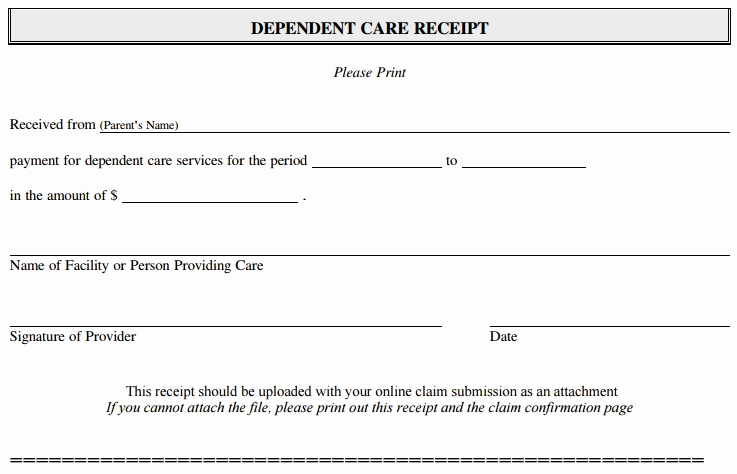 Dependent Care Fsa Receipt Template Luxury How to File A Dependent Care Fsa Claim – 24hourflex