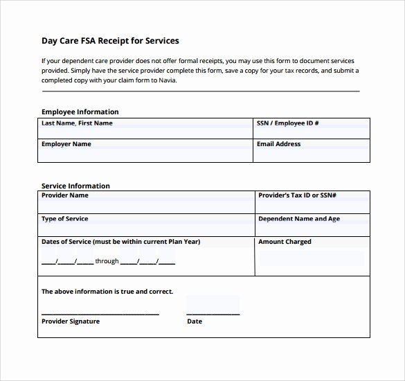 Dependent Care Fsa Receipt Template New 9 Service Receipt Templates – Free Samples Examples