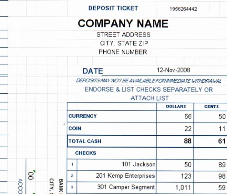 Deposit Slip Template Word Best Of Deposit Ticket Template