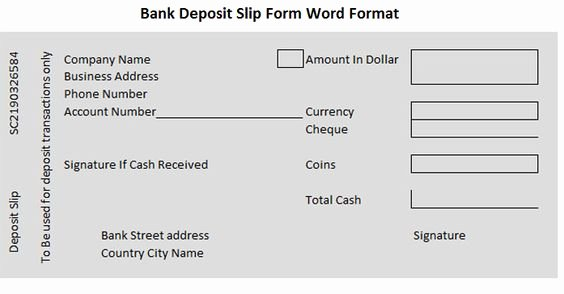Deposit Slip Template Word Inspirational Bank Deposit Slip form Word format