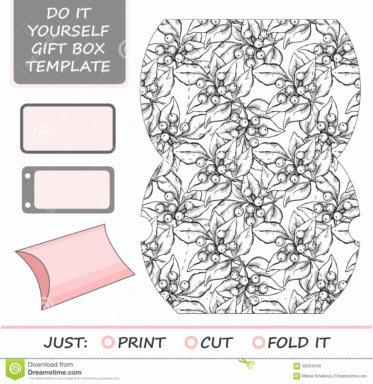 Die Cut Box Template Beautiful Favor Gift Box Die Cut Box Template Stock Vector Image