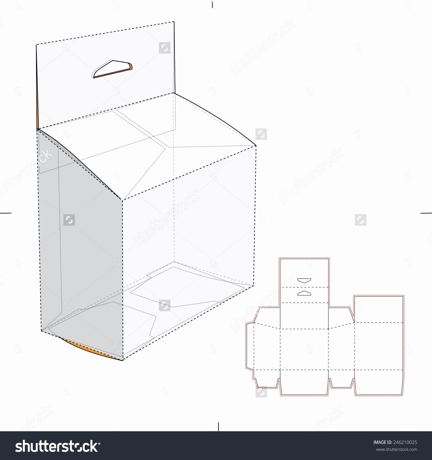 Die Cut Box Template Fresh Slanted Box with Hang Tag and Die Cut Template Stock