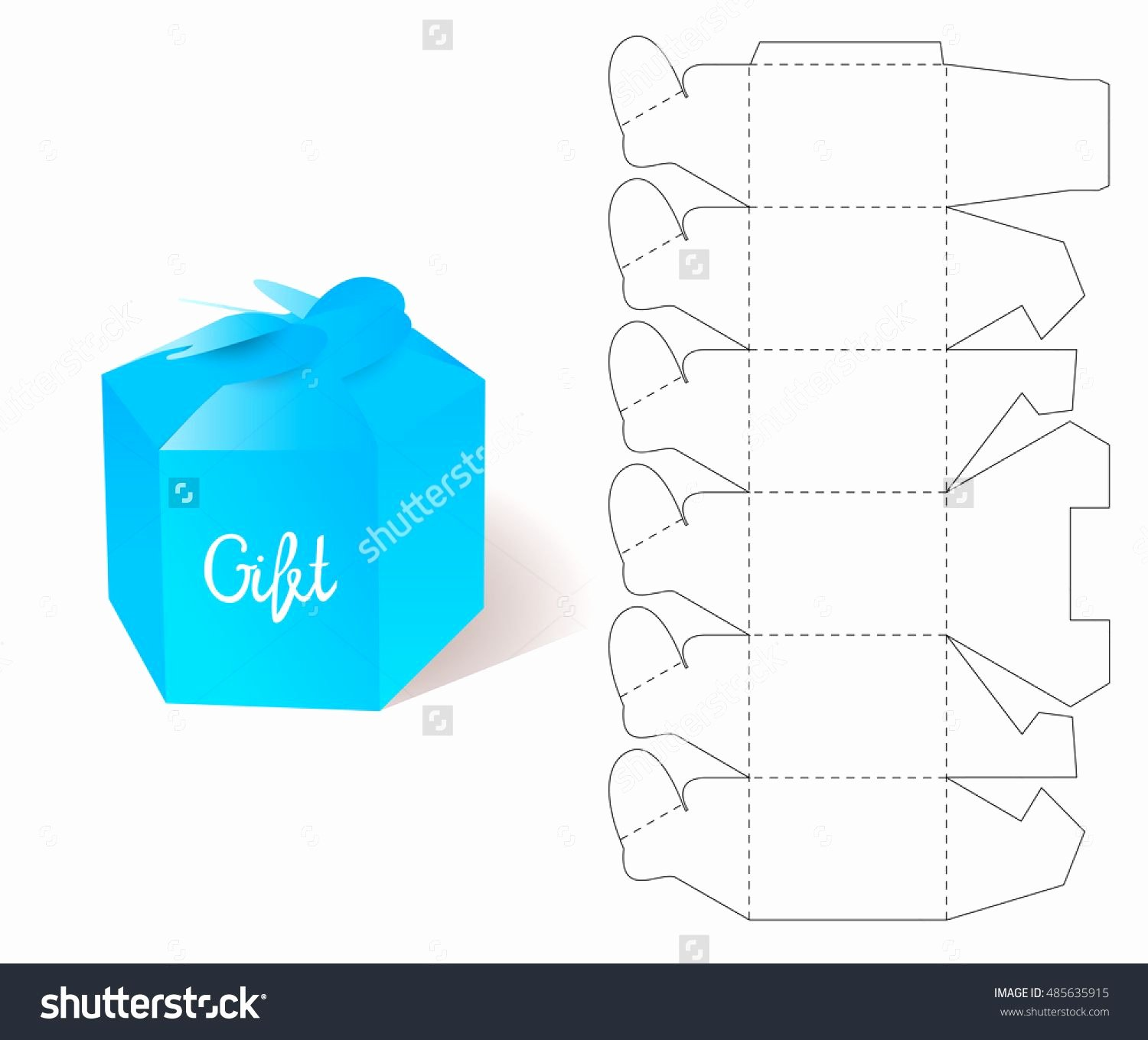 Die Cut Box Template Lovely Box Paper Blueprint Gift Box Craft Mockup Template