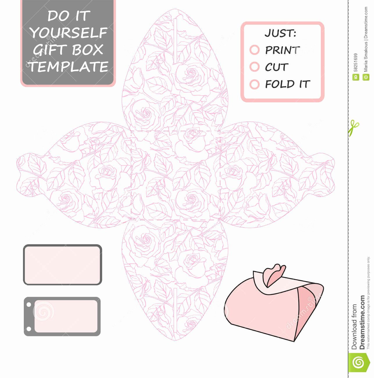 Die Cut Box Template Lovely Favor Gift Box Die Cut Box Template with Rose Pattern