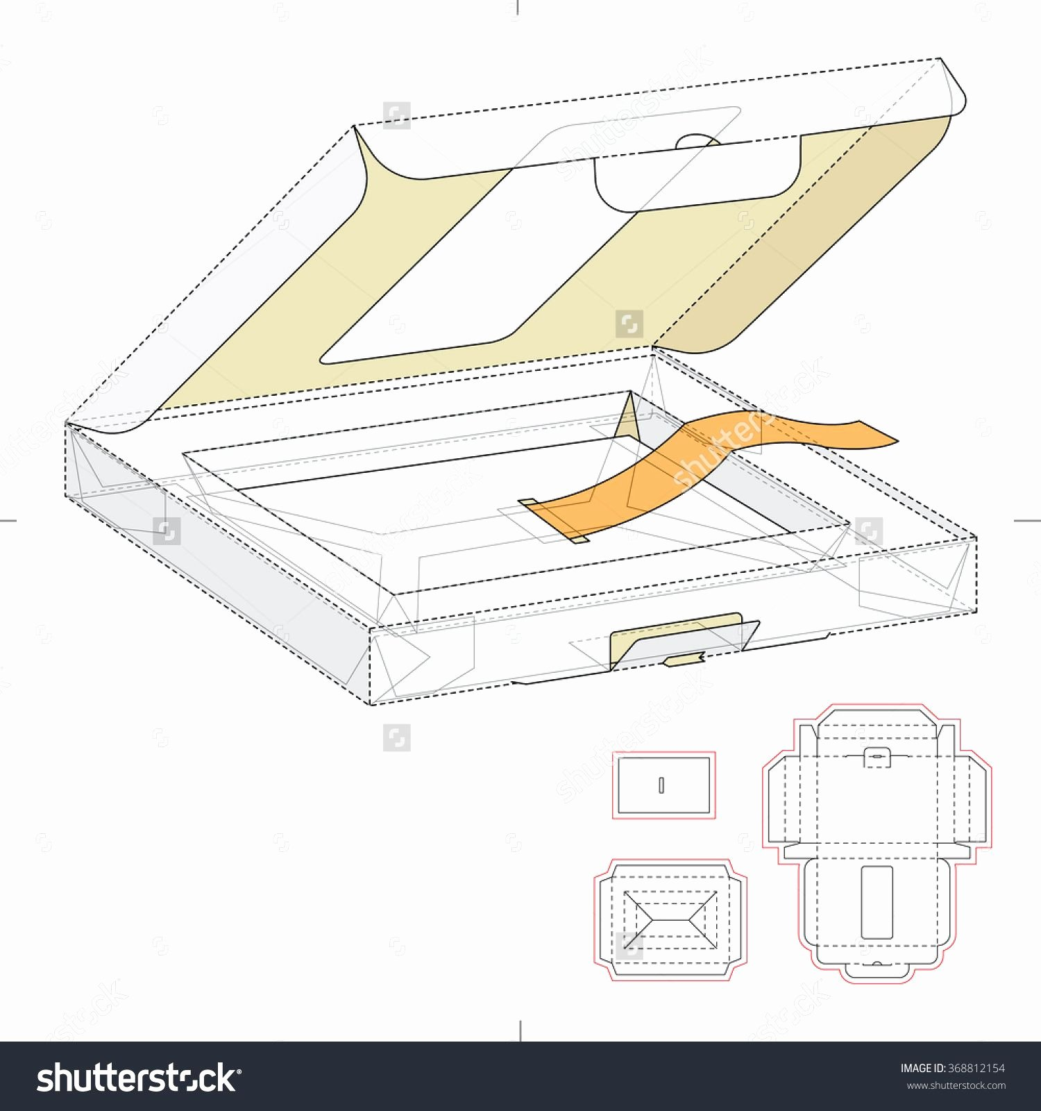 Die Cut Box Template Lovely Retail Box with Window and Die Cut Template Stock Vector