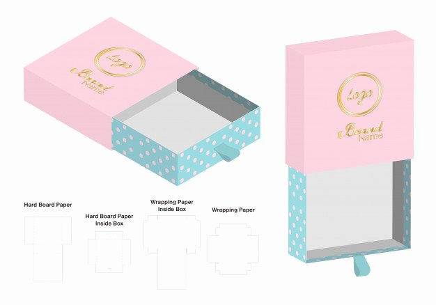 Die Cut Box Template Luxury Rigid Box Packaging Cut Template 3d Mockup Vector