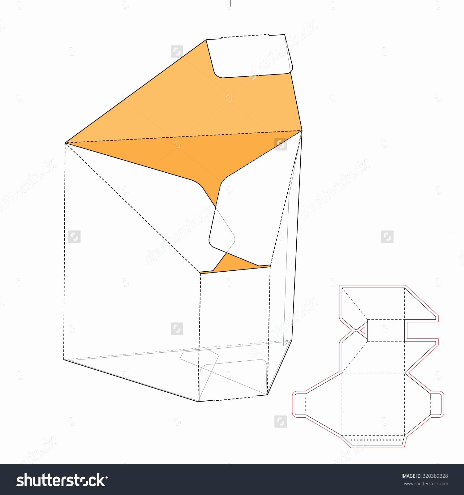 Die Cut Box Template New Tapered Prism Box with Die Cut Template Stock Vector
