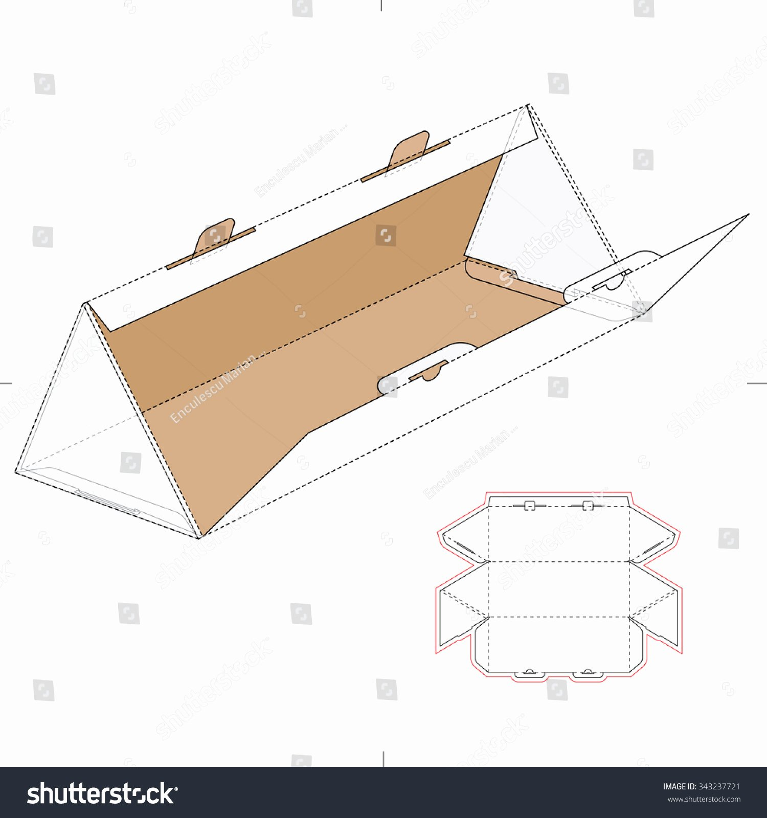 Die Cut Box Template Unique Triangular Box with Die Cut Template and Layout Stock