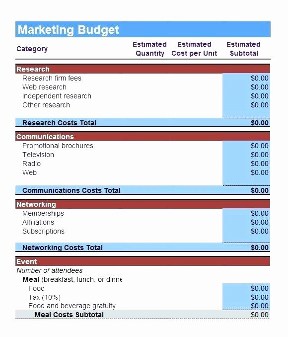 Digital Marketing Budget Template Beautiful Marketing Bud Template Google Sheets Excel Sample