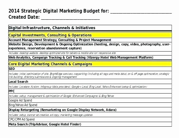 Digital Marketing Budget Template Best Of Digital Marketing Strategy Template Strategic Bud Excel