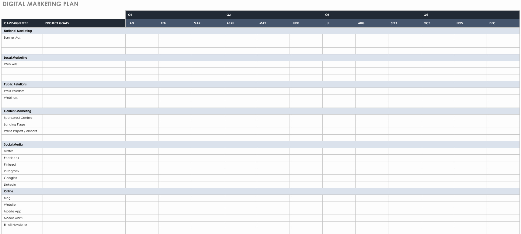 Digital Marketing Campaign Template Awesome Free Marketing Plan Templates for Excel