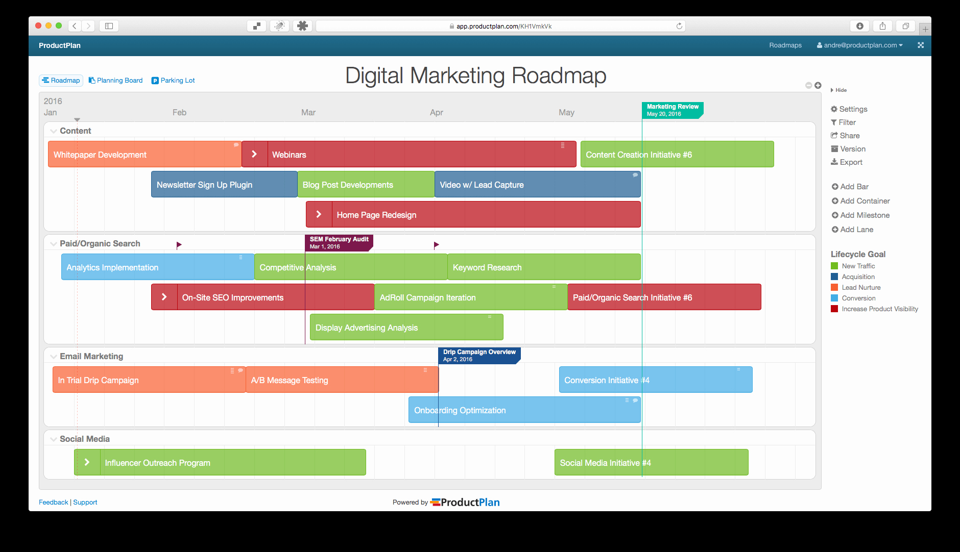 Digital Marketing Campaign Template Beautiful Three Example Marketing Roadmaps