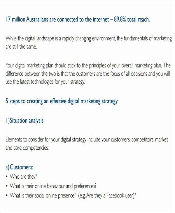 Digital Marketing Campaign Template Fresh 12 Sample Digital Marketing Plan