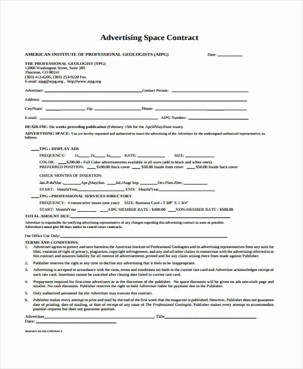 Digital Marketing Contract Template Elegant 9 Advertising Contract Templates Sample Examples