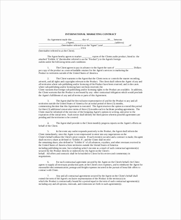 Digital Marketing Contract Template Fresh 16 Marketing Contract Templates Free Sample Example format