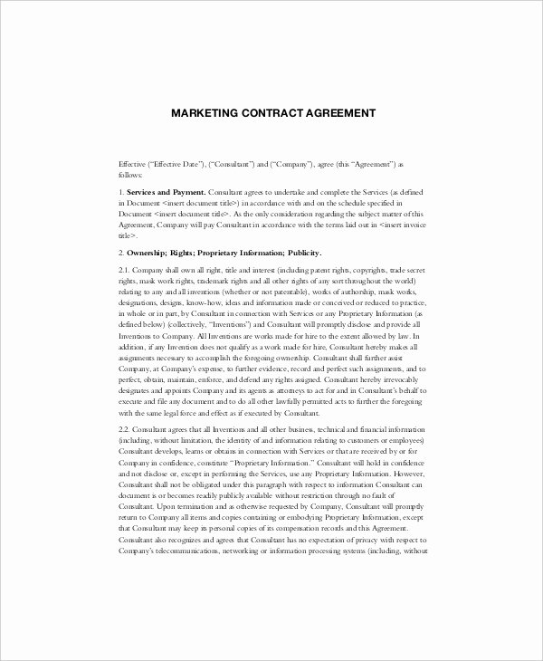 Digital Marketing Contract Template Luxury 16 Marketing Contract Templates – Free Sample Example