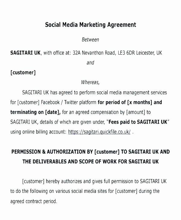 Digital Marketing Contract Template New Digital Marketing Contract Template Doc social Media