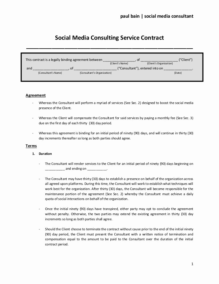 Digital Marketing Contract Template Unique social Media Consulting Services Contract