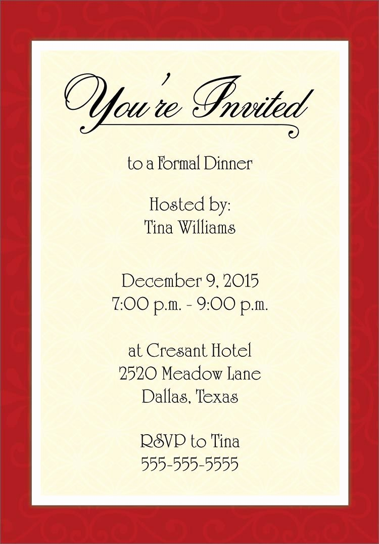 Dinner Invitation Email Template Beautiful Dinner Invitation Template Free
