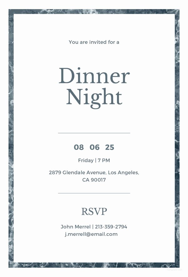 Dinner Invitation Email Template Elegant 50 Printable Dinner Invitation Templates Psd Ai