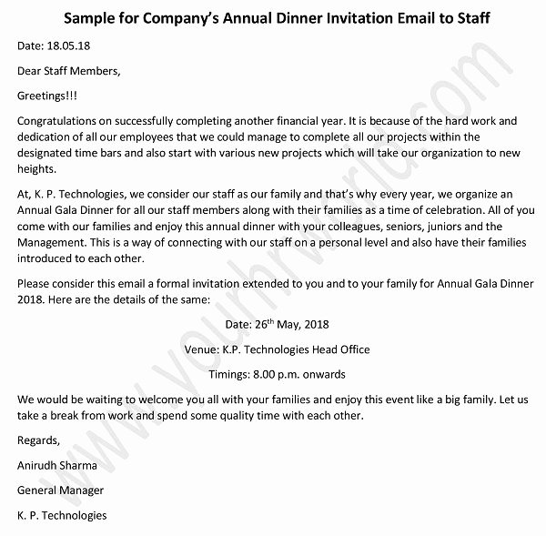 Dinner Invitation Email Template Inspirational Annual Dinner Invitation Email to Staff