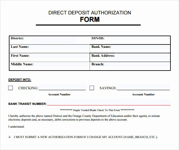 Direct Deposit Authorization form Template Awesome 8 Direct Deposit Authorization forms Download for Free