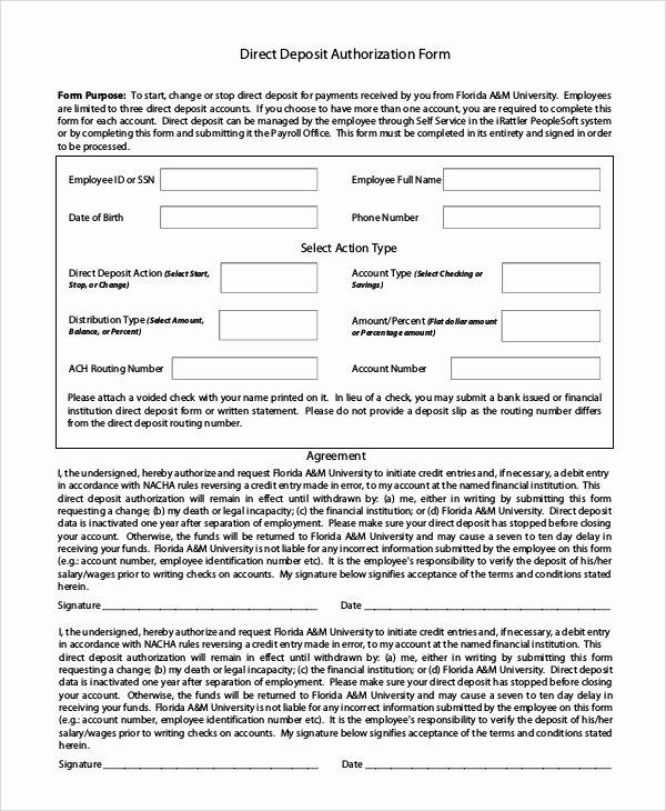 Direct Deposit Authorization form Template Beautiful 10 Sample Direct Deposit Authorization forms