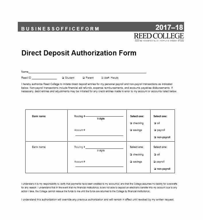 Direct Deposit Authorization form Template Best Of 47 Direct Deposit Authorization form Templates Template