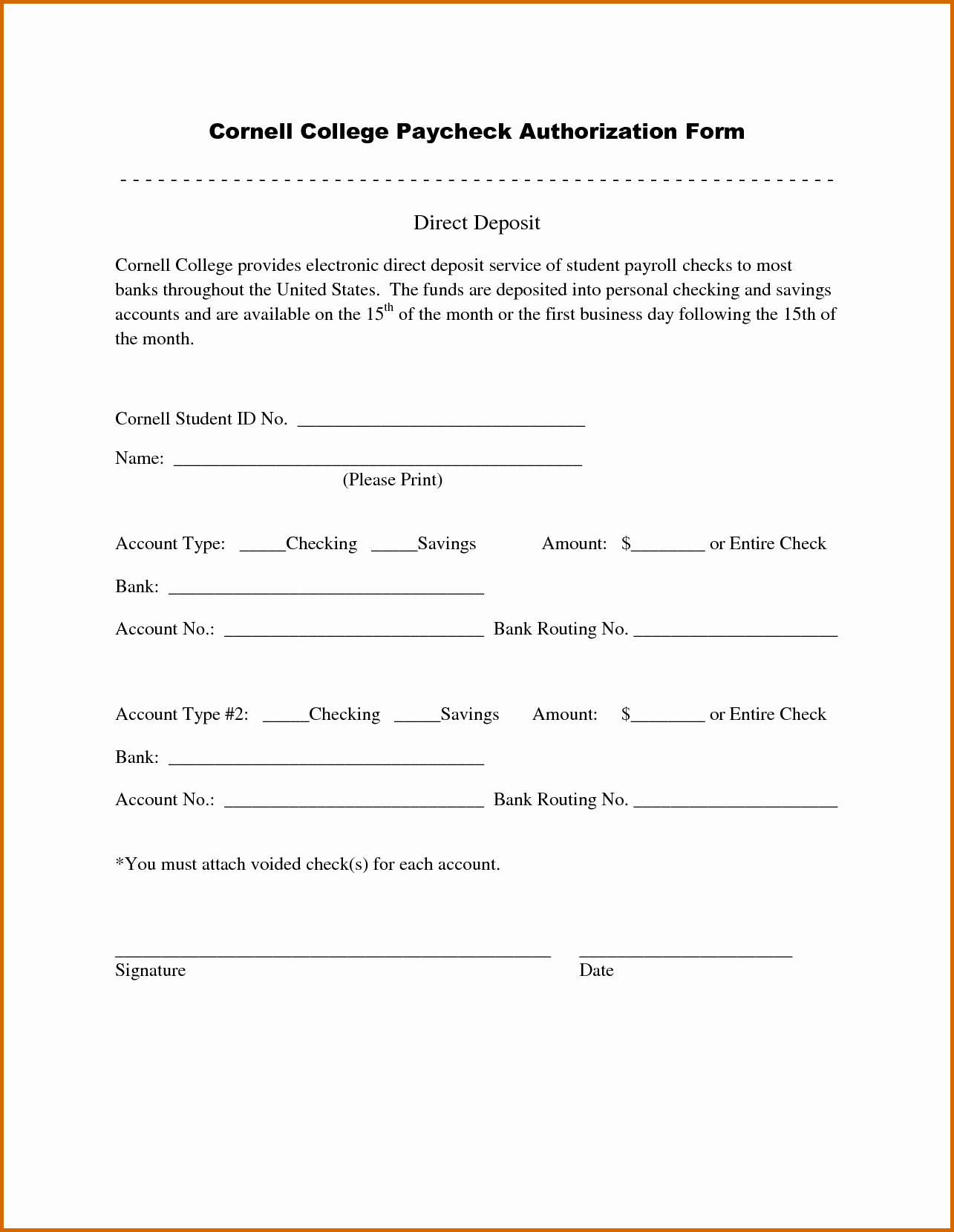 Direct Deposit Authorization form Template Elegant 12 Sample Direct Deposit Authorization form