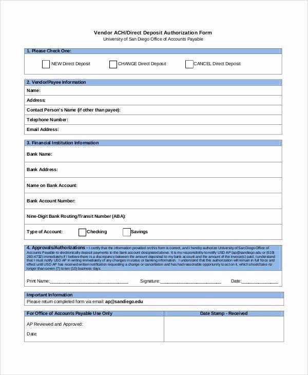Direct Deposit Authorization form Template Fresh 10 Quickbooks Direct Deposit form Intuit Direct Deposit