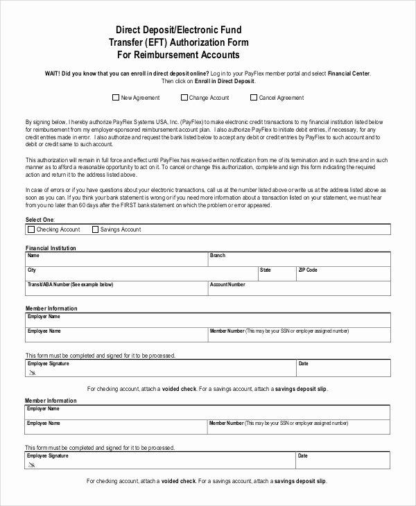 Direct Deposit Authorization form Template Inspirational 10 Sample Direct Deposit Authorization forms