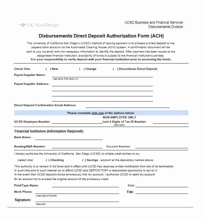 Direct Deposit Authorization form Template Inspirational 47 Direct Deposit Authorization form Templates Template