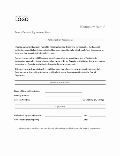 Direct Deposit Authorization form Template Inspirational Direct Deposit form Template