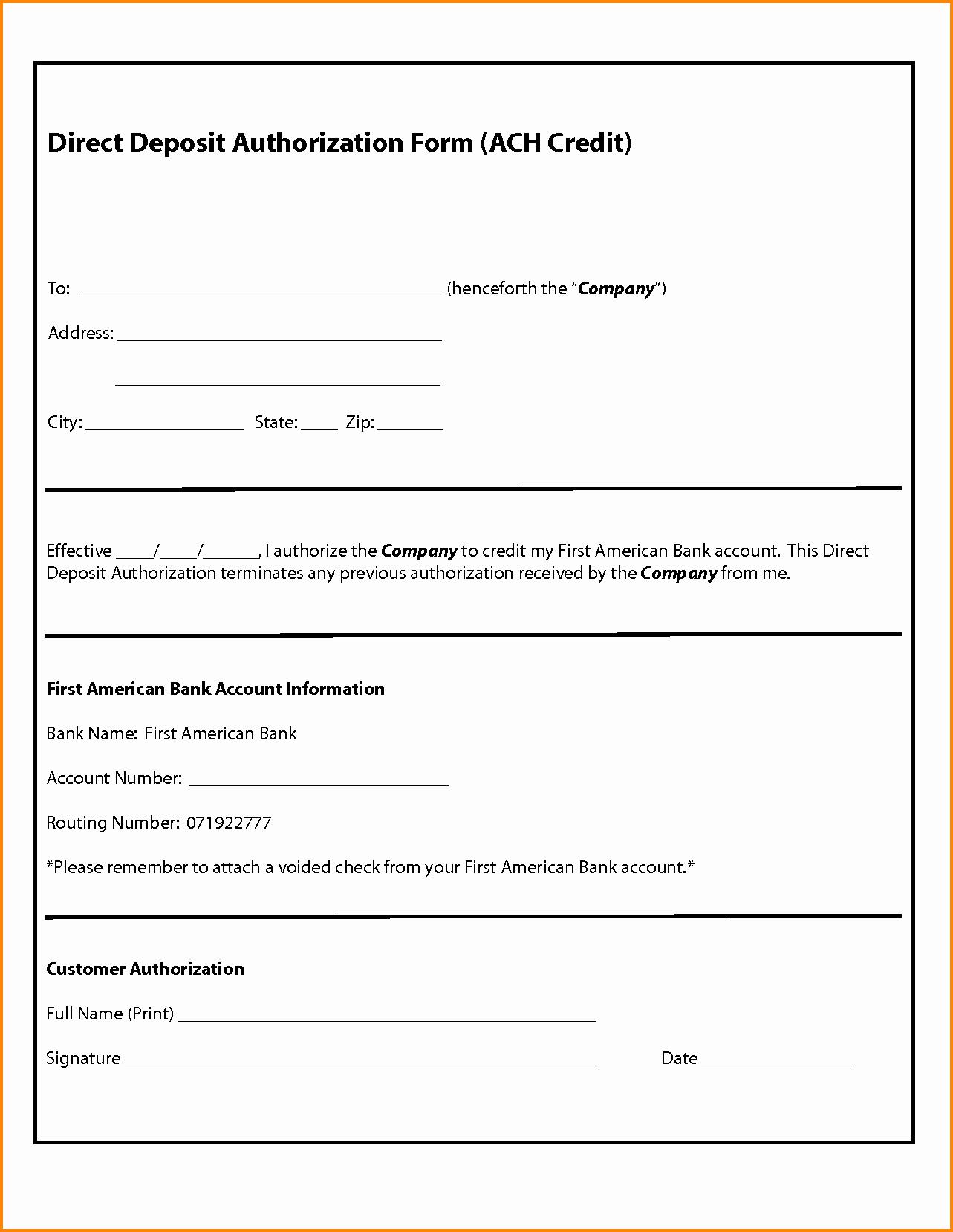 Direct Deposit Authorization form Template Luxury 30 Of Free Ach Authorization form Template