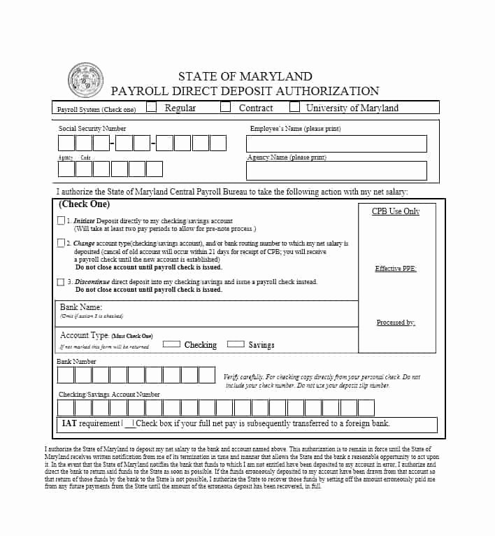 Direct Deposit Authorization form Template New 47 Direct Deposit Authorization form Templates Template