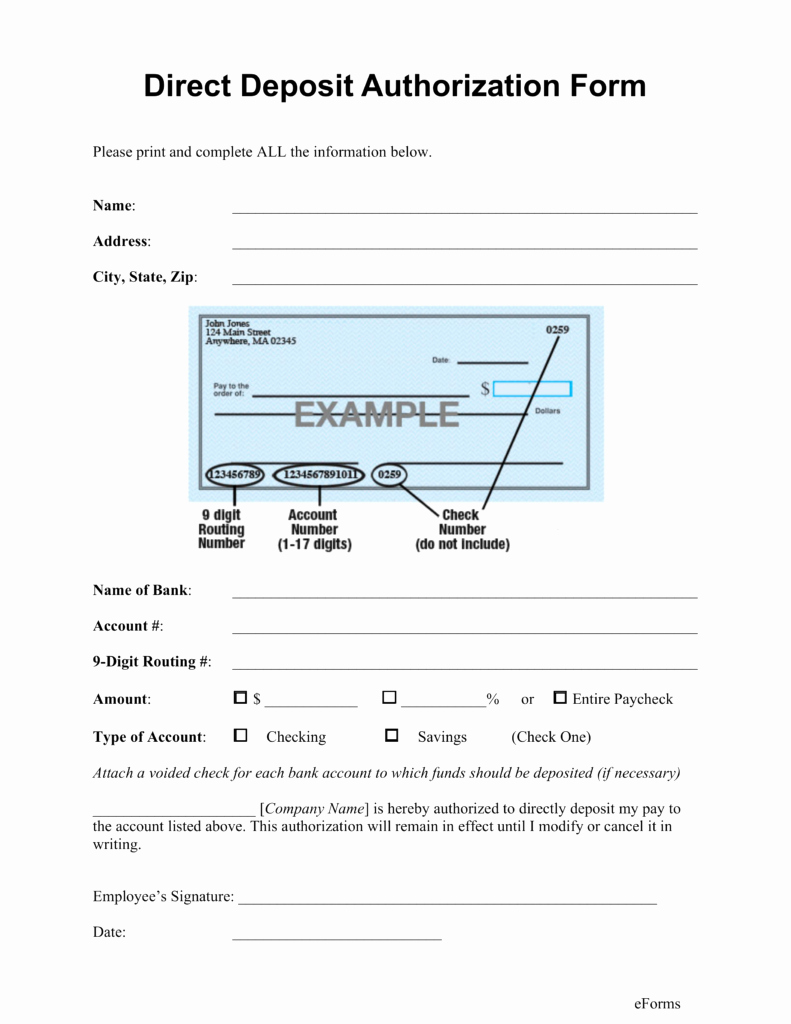Direct Deposit Authorization form Template New Direct Deposit form Template