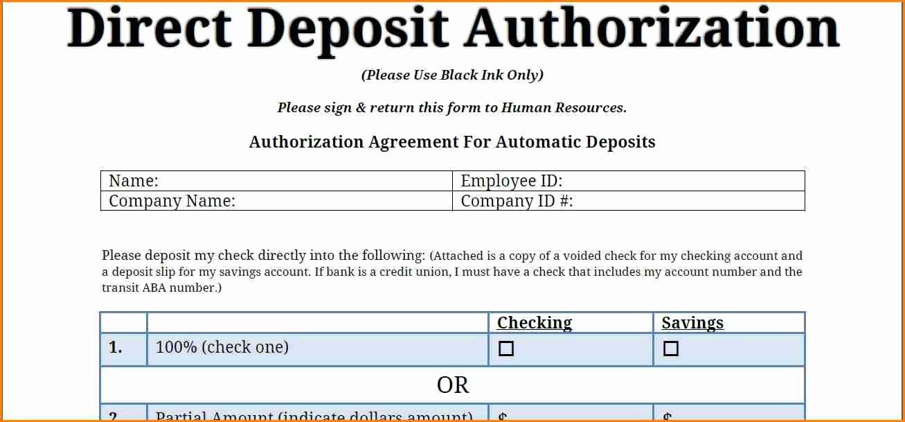 Direct Deposit Authorization form Template Unique 9 Payroll Direct Deposit form Template