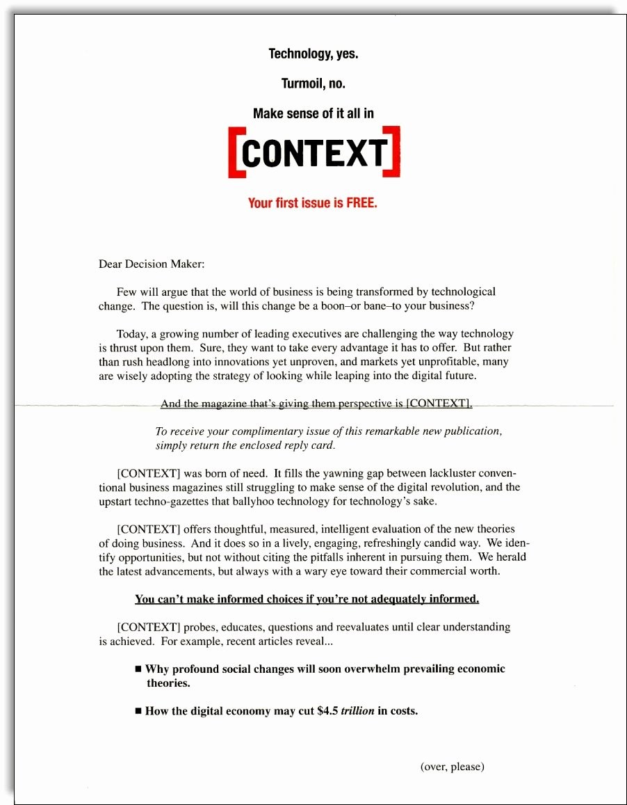 Direct Mail Letter Template Awesome Context Magazine Direct Mail Jerry Mctigue Copywriter