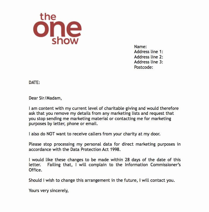 bbcs the one show offers dont contact me letter to charities for