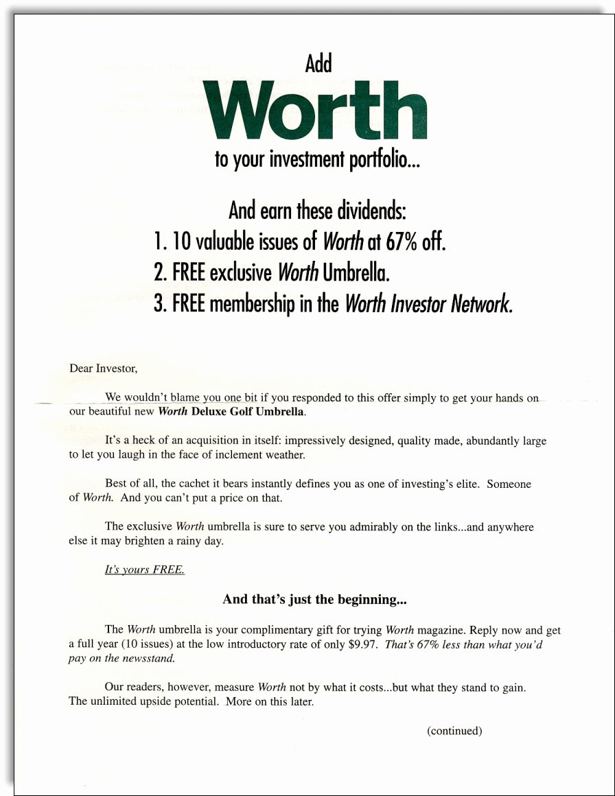 Direct Mail Letter Template Inspirational Worth Magazine Direct Mail Package Jerry Mctigue